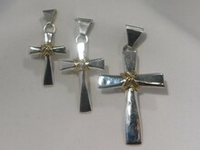 Cross Pendants, Silver & 14K Gold