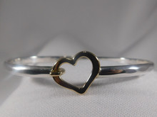 Heart, Silver & 14K Gold Heart, 4mm