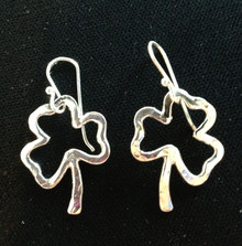 Shamrock Earrings, Silver, French Wire