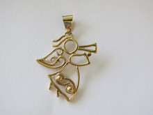 Christmas Angel with Horn Pendant in 14k gold