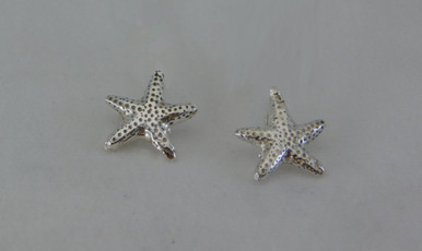 Tiny Starfish Earrings in Sterling Silver with 14k Posts.