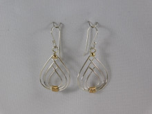 Flame Earrings, Silver and 14k French Wire