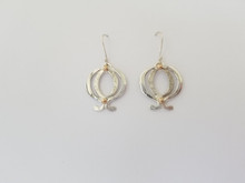 Lotus Earrings, Silver with 14k Gold Accents, French Wire