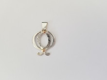 Lotus Pendant,  Sterling Silver with 14k Gold accents