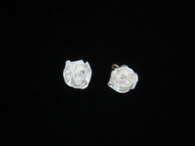 Paper Rose Earrings, Silver - 14K Post & Back