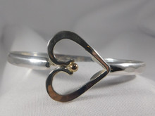 Heart with 14K Ball Catch, Silver, 5mm