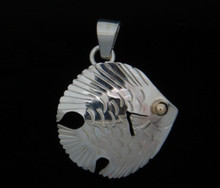 Silver & 14K Gold Eye Tourista Fish Pendant- Small