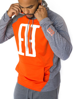 FINAO Big Mark Sport Hoodie - Gray & Orange
