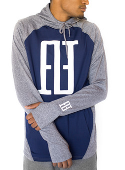 FINAO Big Mark Sport Hoodie - Gray & Blue
