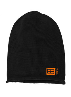 FINAO Big Mark Slouch Beanie Hat - Black & Orange