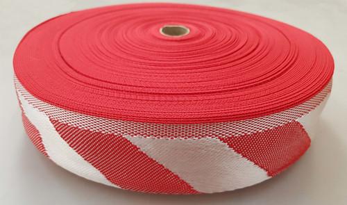 75 mm x 50 m roll Polypropylene Webbing Red/White