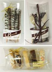 5 piece Mini Pillow Box Gift - Biscotti, Pretzels or Java Spoons