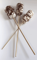 Chocolate covered marshmallows on a stick.