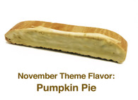 November - Pumpkin Pie: A pumpkin biscotti make with real pumpkin and topped with pumpkin spice white chocolate