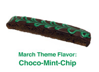 Choco-Mint-Chip: A delicious chocolate biscotti with crème de menthe chips and crème de menthe chocolate spread on top with a green, chocolate swirl.