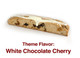 Cherry flavored biscotti loaded with dried sweet cherries and topped off with white chocolate.