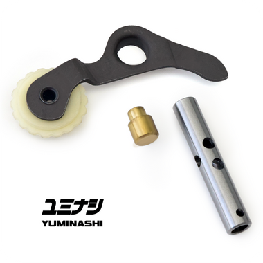 Oil pressure optimized tensioner push rod. Button in brass and wheel made from resistant high quality material.