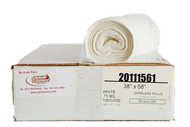 """60 Gal .8 Mil Low Density X-Heavy Can Liner, 38"""" x 58"""", White - Case of 100"""