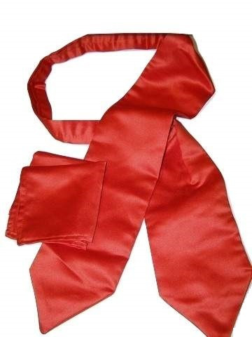 Plain red cravat matching hanky