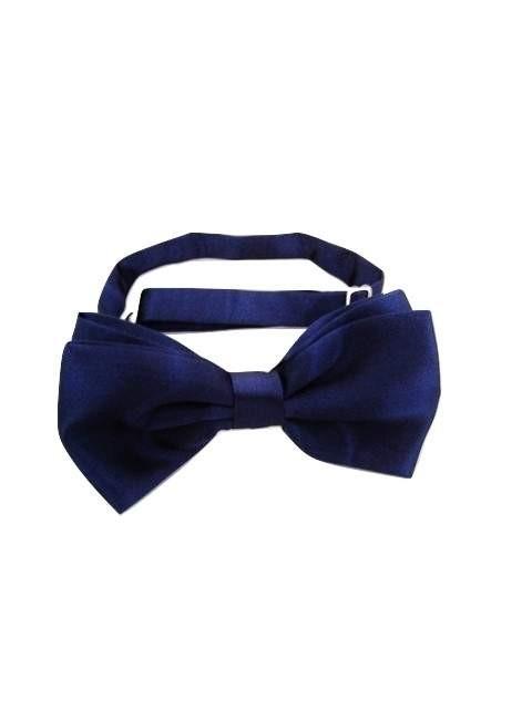 de0884bae9bf Navy Blue Satin Bow Tie - Tweedmans Vintage
