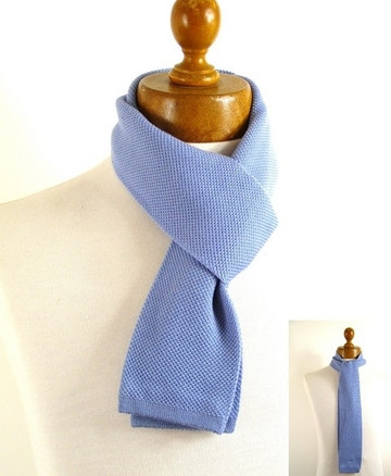Mens skinny knitted wool scarf
