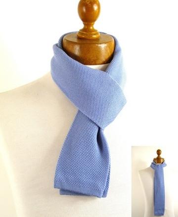 Mens skinny knitted wool scarf