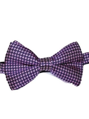 Houndstooth silk bow tie