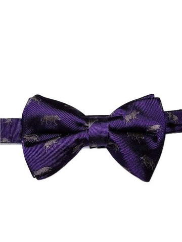Animal themed silk bow tie