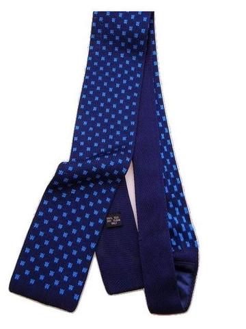 Silk knit tie navy blue