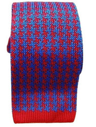 Knitted silk tie red blue