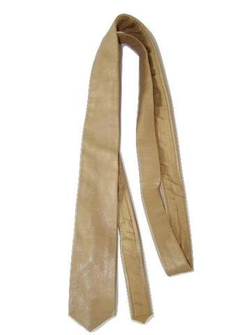 Skinny brown leather tie