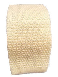 Cream wool knitted tie