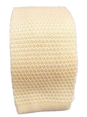 Cream wool knitted tie