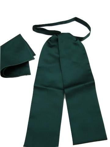Dark green cravat pocket square set