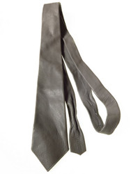 Grey leather necktie