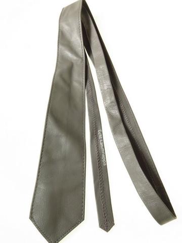 Grey leather tie