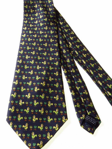 Chicken themed silk tie
