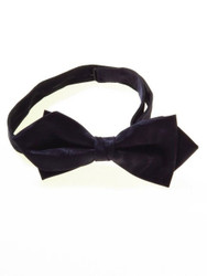 Navy moire diamond point bow tie
