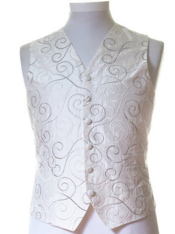 Ivory silver scroll wedding waistcoat