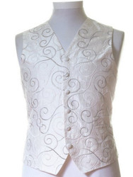 Ivory silver scroll wedding waistcoat