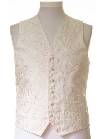 Ivory rose pink swirl wedding waistcoat