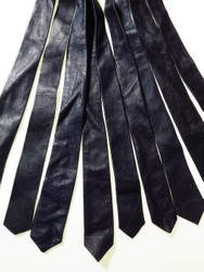 Genuine leather tie navy