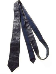 Skinny navy leather tie