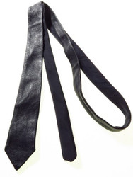 Navy leather necktie