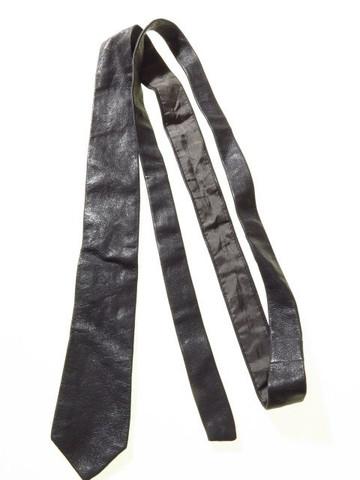 Slim leather tie grey