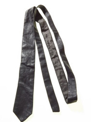 Slim leather tie grey