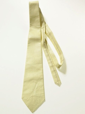 Pale yellow leather tie
