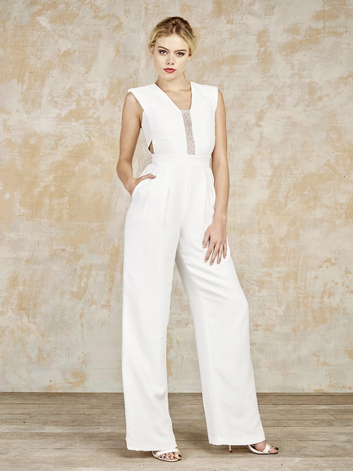 Made from a luxe silk, crepe de chine with an insert of top-notch British sparkle. The Kay is a bridal jumpsuit made in England by House of Ollichon. A lovely evening option, imagine that sparkle on the dance floor.