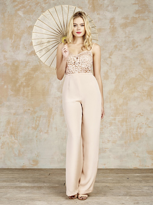 Bridal blush jumpsuit made in England by House of Ollichon, vintage corset made with French bridal lace, crepe de chine trousers, romantic wedding dress alternative