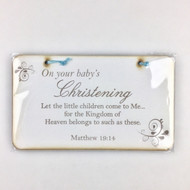 On your baby's Christening plaque (blue)
